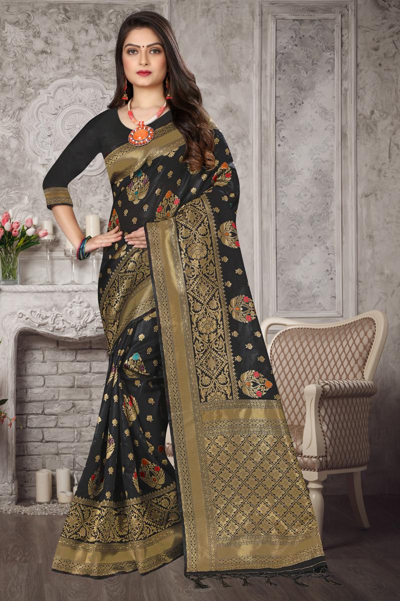 Art Silk Fabric Fancy Weaving Work Saree In Black Color
