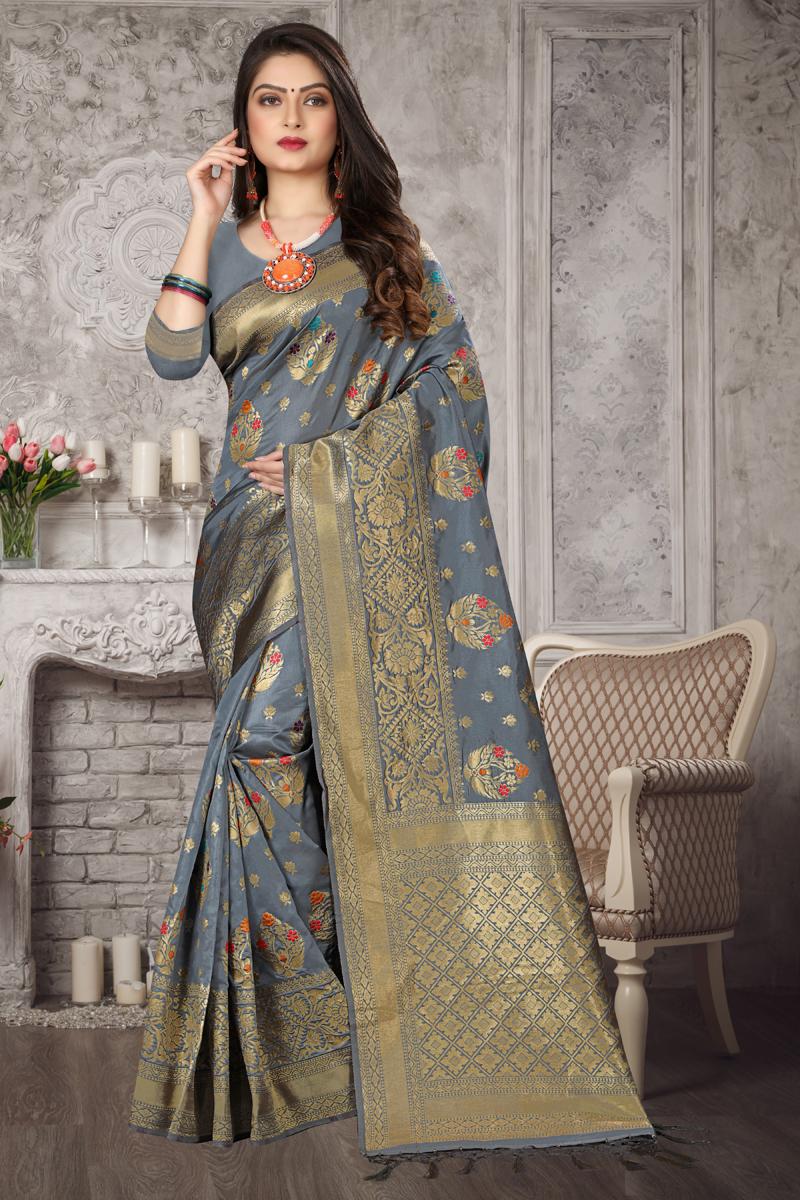 Grey Color Art Silk Fabric Occasion Wear Weaving Work Saree