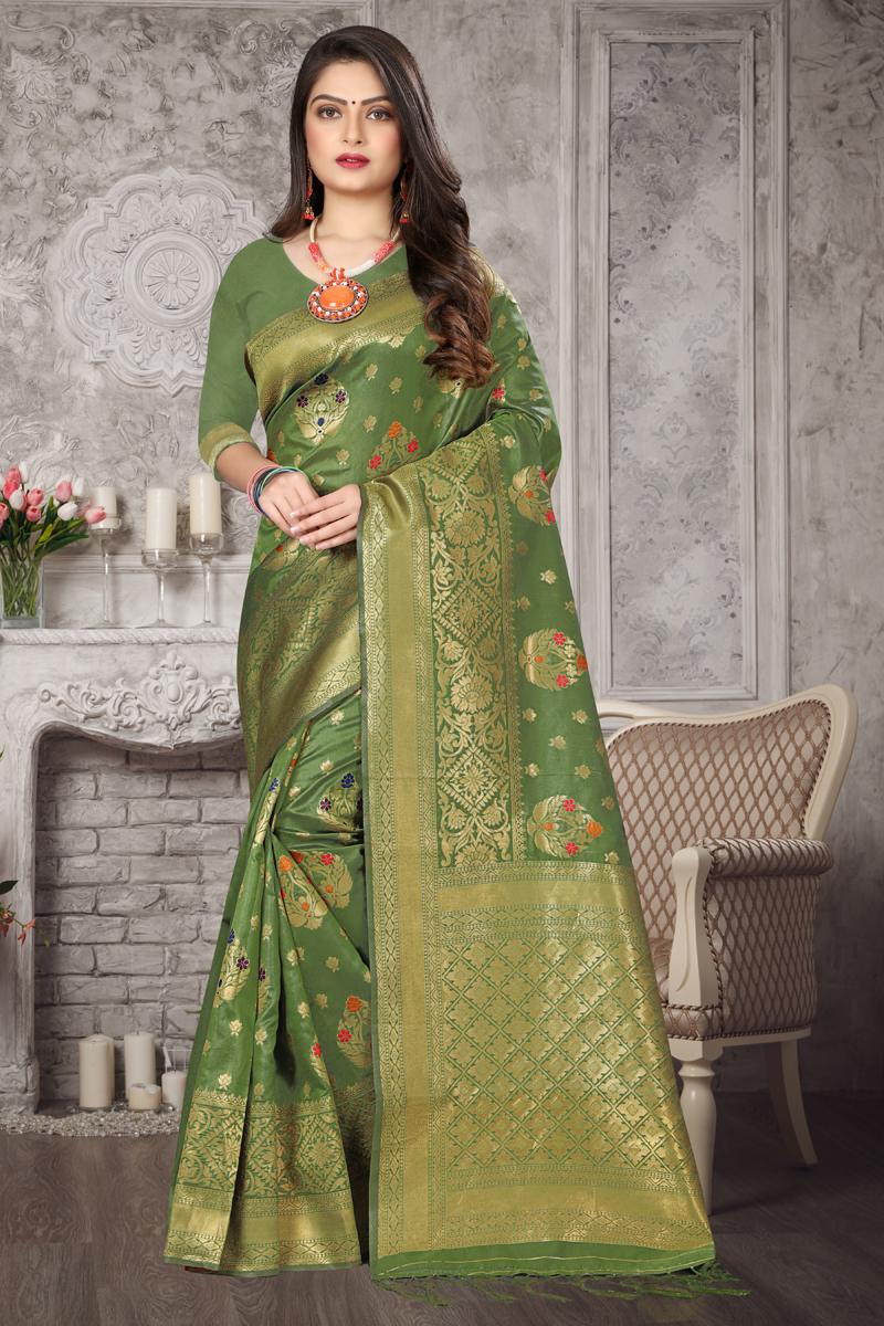 Function Wear Green Color Weaving Work Saree In Art Silk Fabric