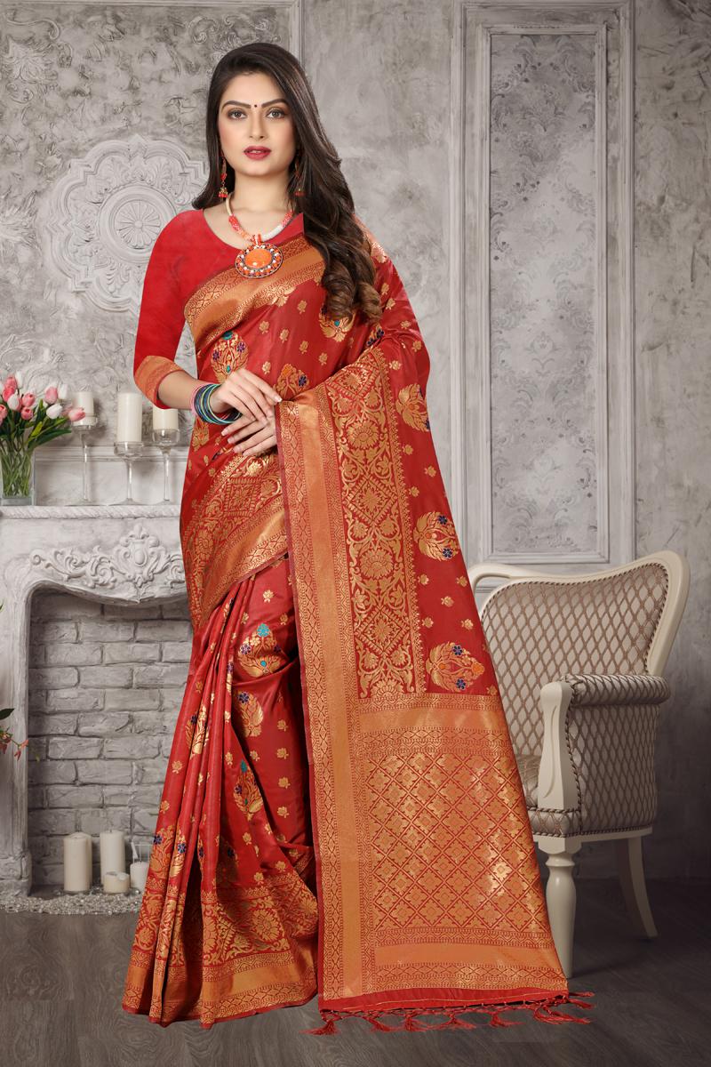 Designer Red Color Art Silk Fabric Party Wear Weaving Work Saree