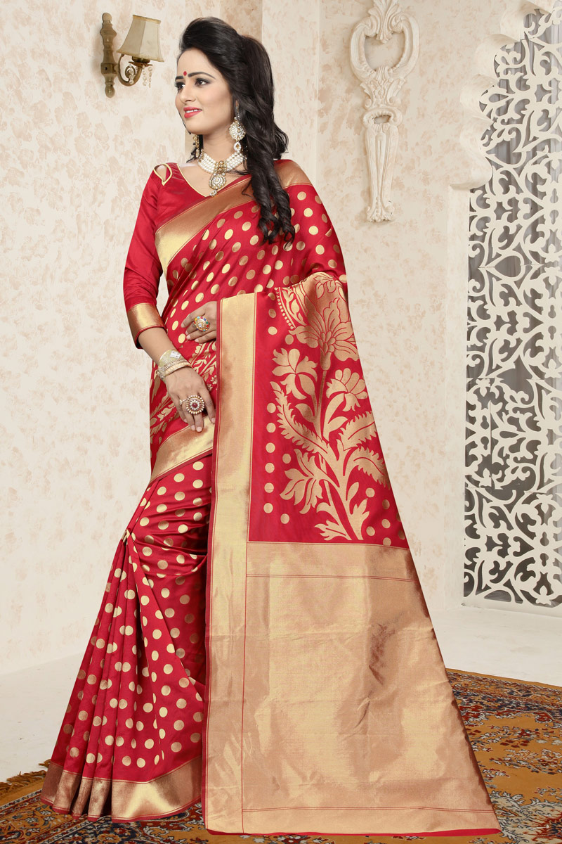 Traditional Banarasi Silk Red Saree With Jacquard Work