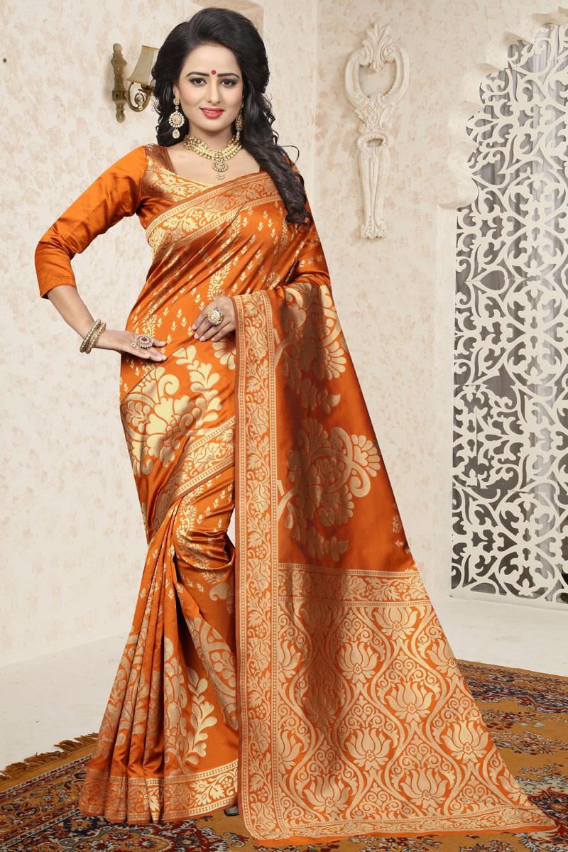 Orange Traditional Function Wear Banarasi Silk Saree With Jacquard Work