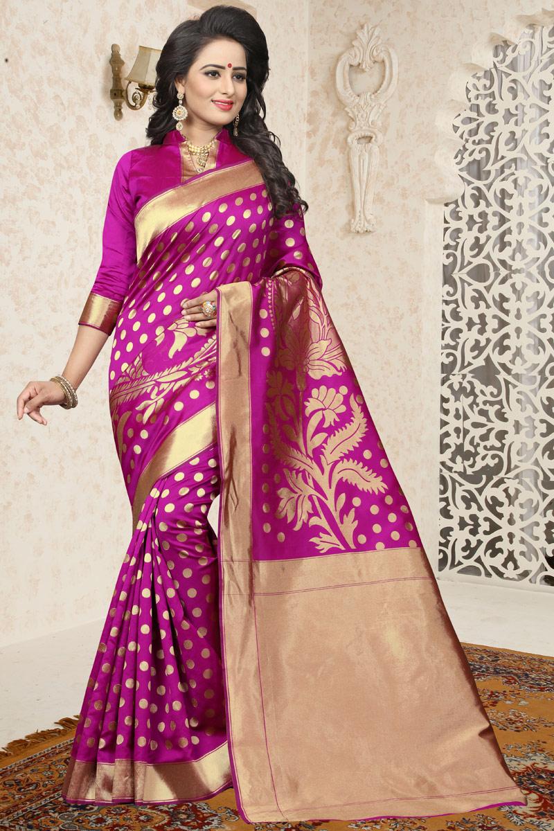 Traditional Dark Pink Banarasi Silk Saree With Jacquard Work