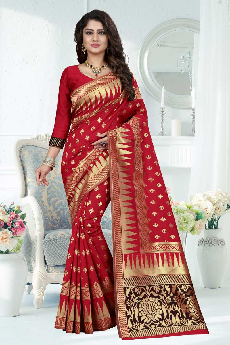 Banarasi Silk Red Designer Weaving Work Saree With Blouse
