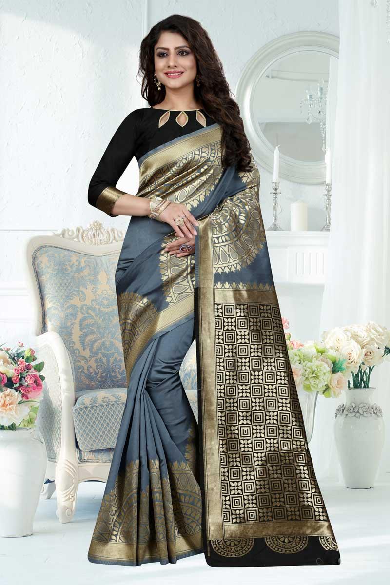 Grey Weaving Work Sangeet Wear Banarasi Silk Saree With Blouse
