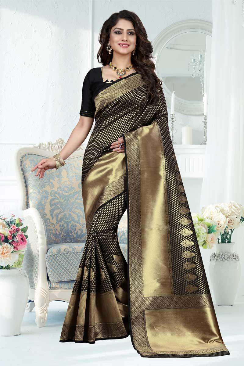 Black Designer Saree With Weaving Work On Banarasi Silk Fabric