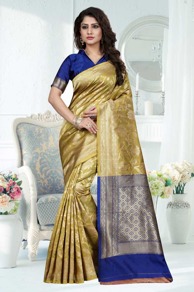 Weaving Work Office Wedding Wear Saree In Light Golden Banarasi Silk Fabric