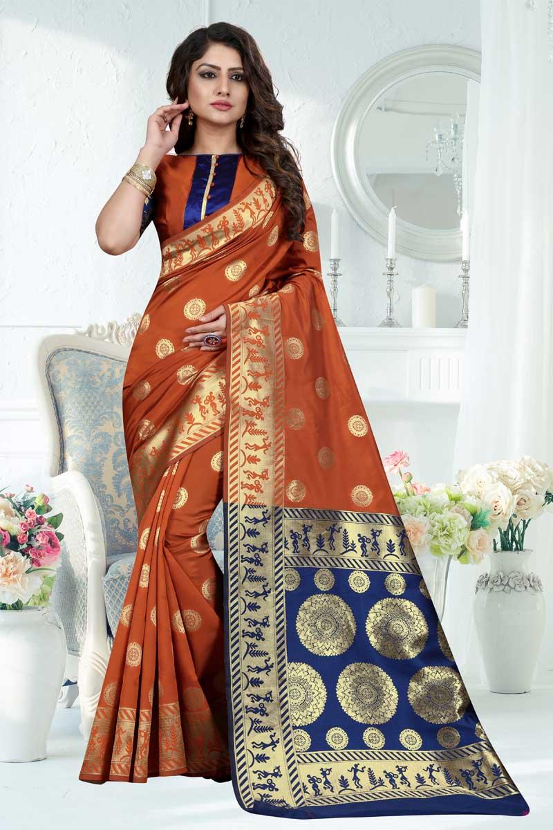 Weaving Work On Rust Designer Saree In Banarasi Silk Fabric