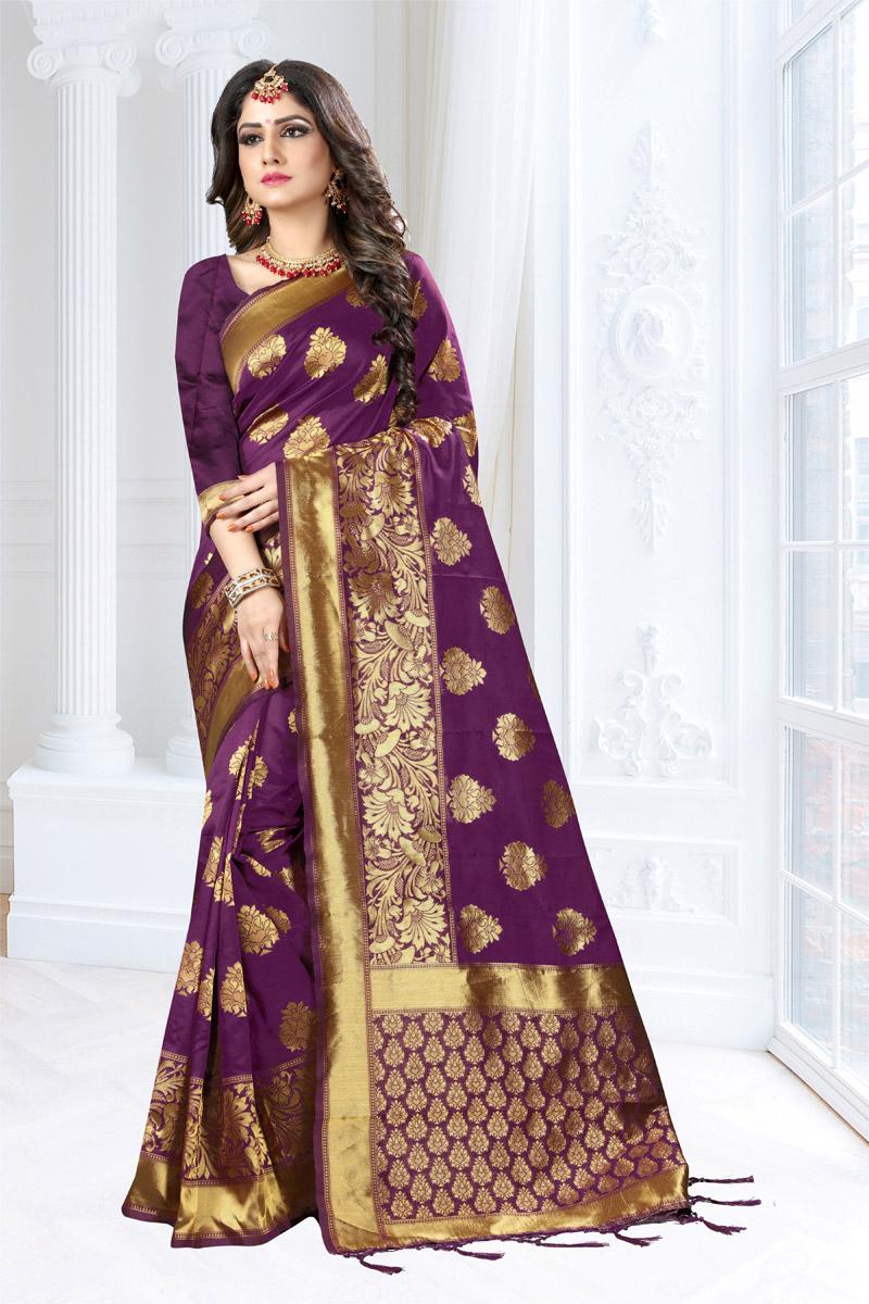 Weaving Work Traditional Fancy Saree In Art Silk Fabric