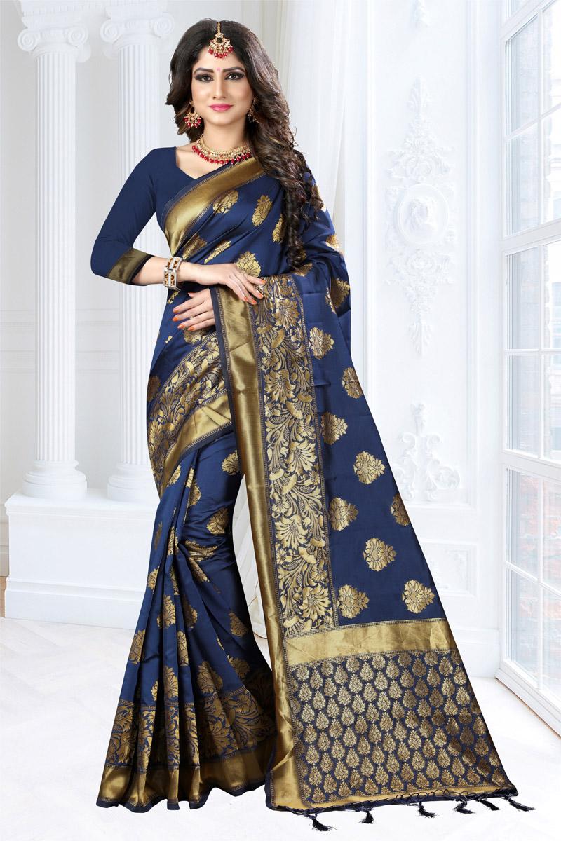 Weaving Work Art Silk Fabric Navy Blue Zari Border Saree