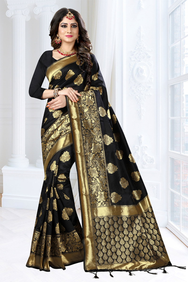 Weaving Work Zari Border Art Silk Fabric Fancy Saree