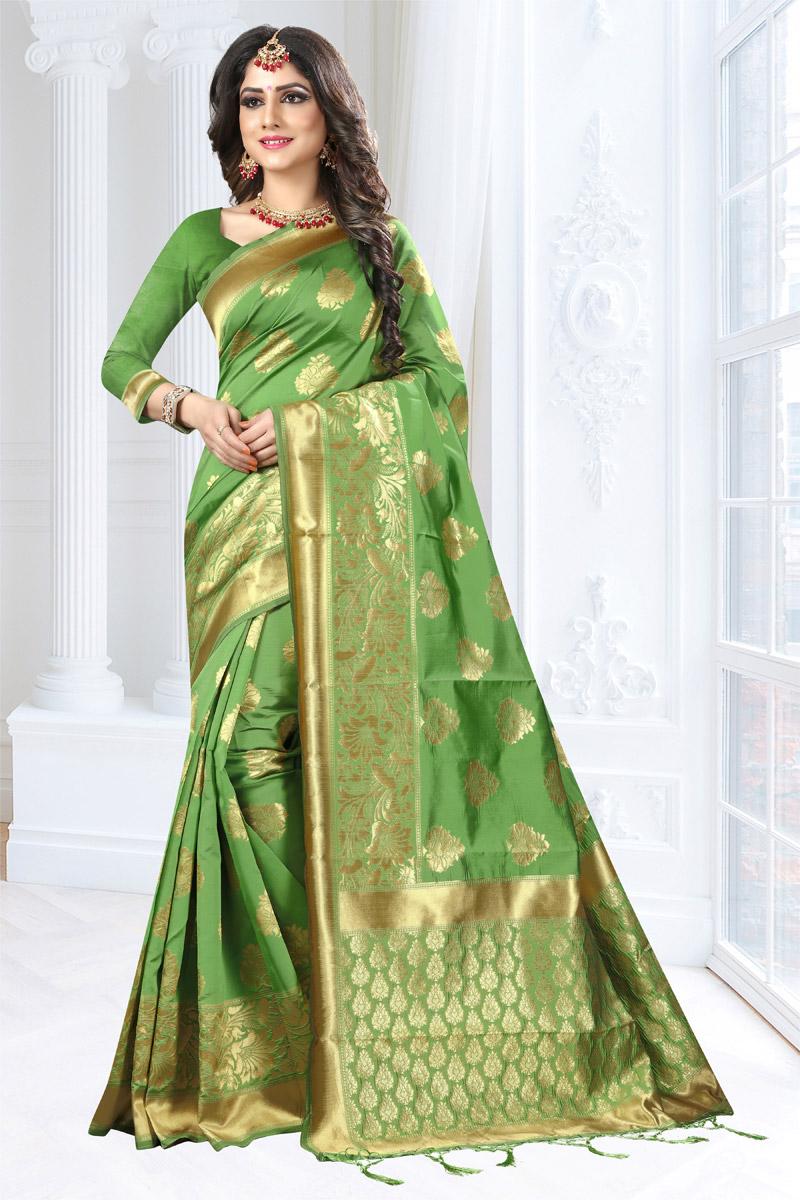 Green Color Art Silk Fabric Weaving Work Designer Traditional Fancy Saree