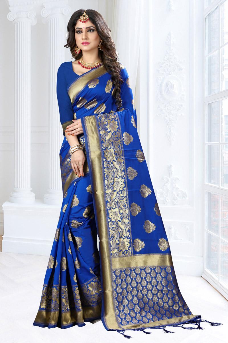 Weaving Work On Blue Art Silk Fabric Function Wear Saree