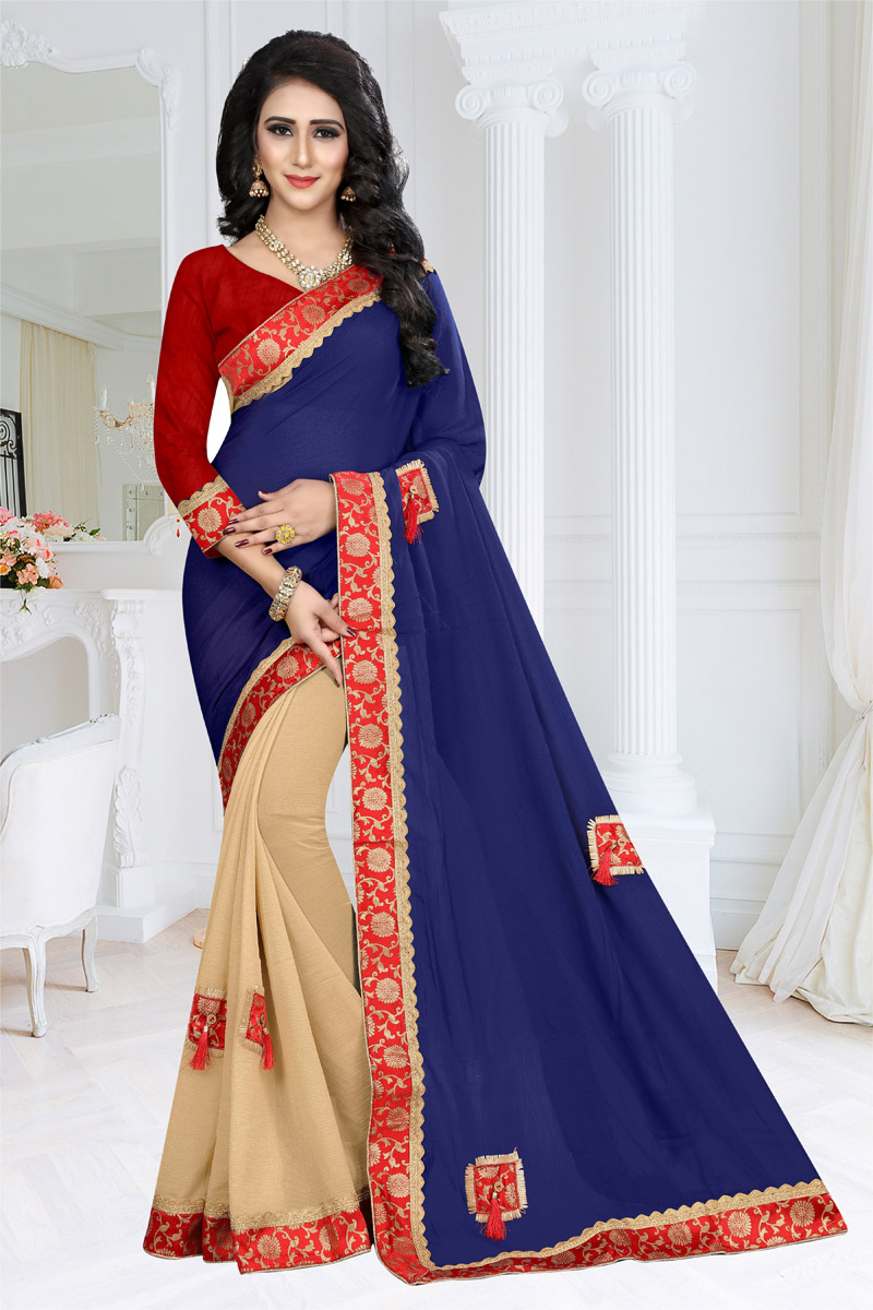 Border Work Wedding Wear Saree In Navy Blue Georgette Fabric With Attractive Blouse