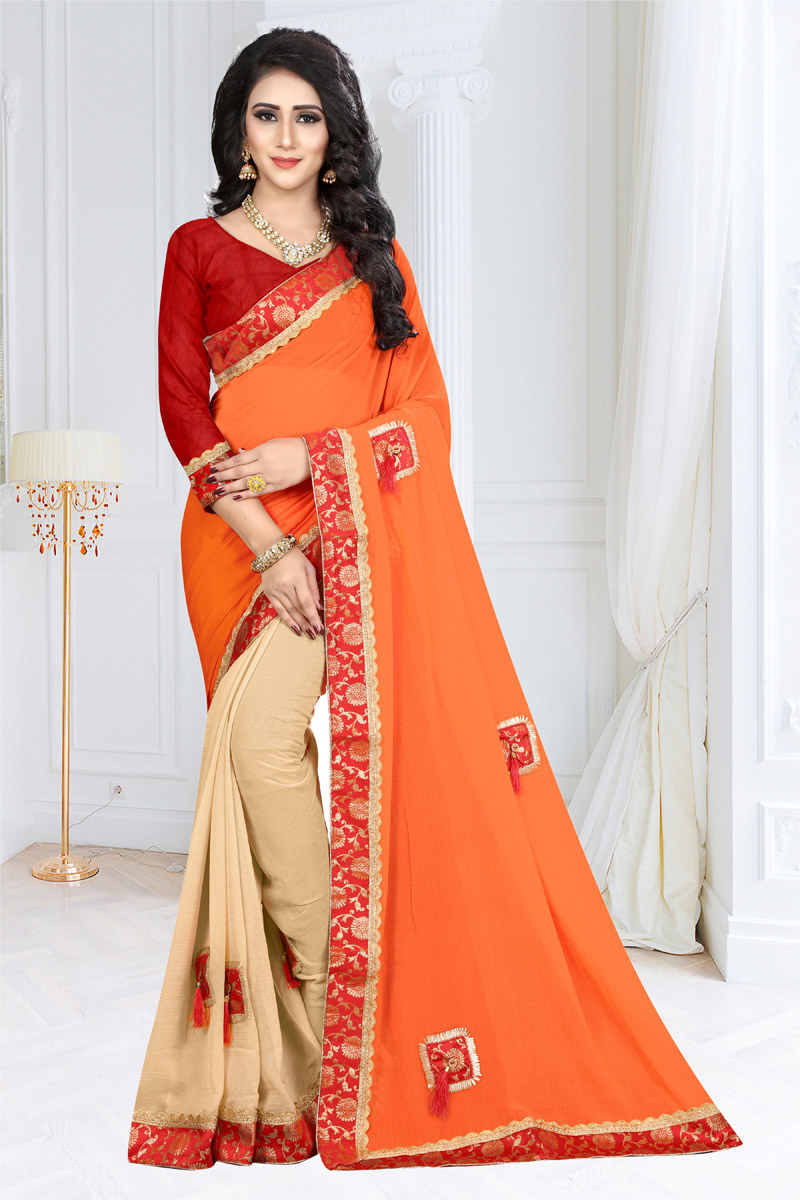 Embroidered Designer Saree With Border Work In Georgette Fabric