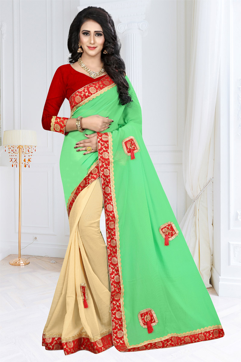 Georgette Fabric Function Wear Fancy Saree With Border Work