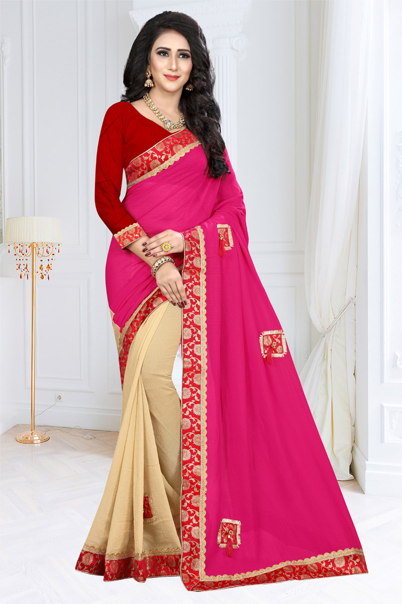 Function Wear Rani Georgette Fabric Saree With Border Work