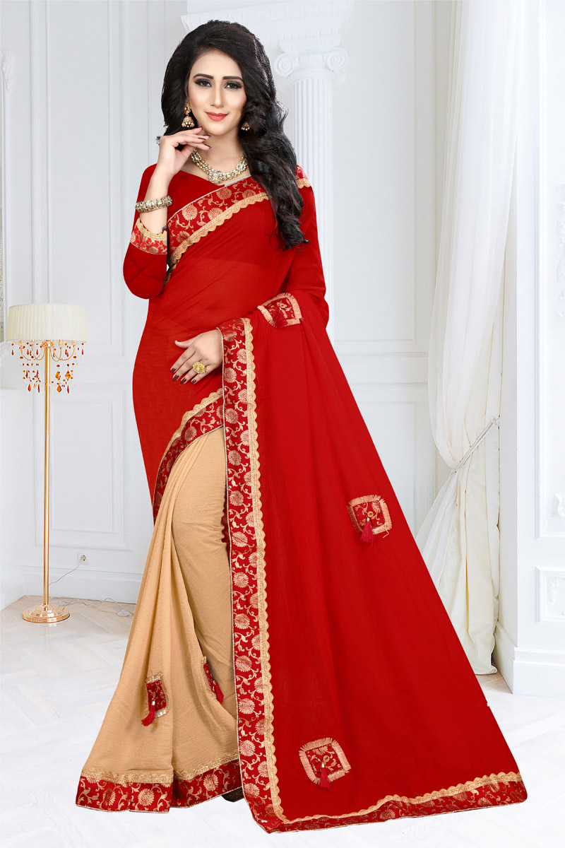 Border Work Red Wedding Wear Saree In Georgette Fabric With Designer Blouse
