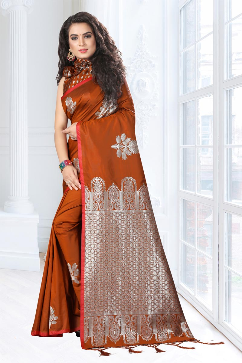 Weaving Work On Rust Art Silk Fabric Function Wear Saree With Marvelous Blouse
