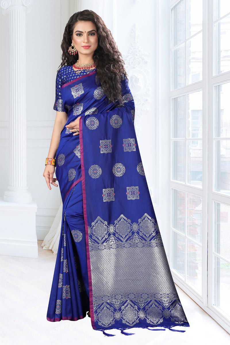 Blue Weaving Work Designs On Art Silk Fabric Reception Wear Saree With Attractive Blouse