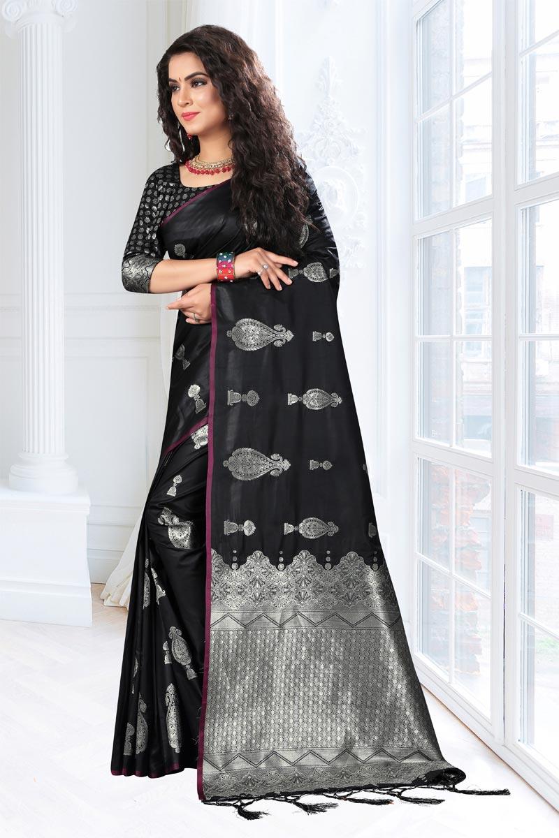 Black Art Silk Fabric Weaving Work Designer Saree With Designer Blouse