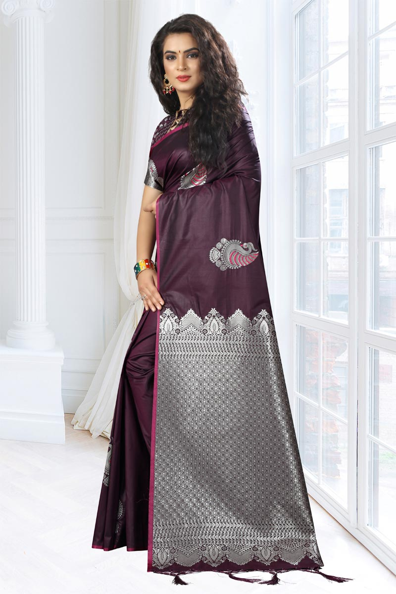 Art Silk Fabric Wine Function Wear Saree With Weaving Work And Astounding Blouse