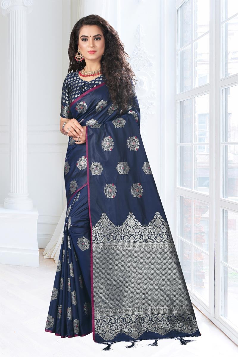 Navy Blue Art Silk Fabric Festive Saree With Weaving Work And Gorgeous Blouse