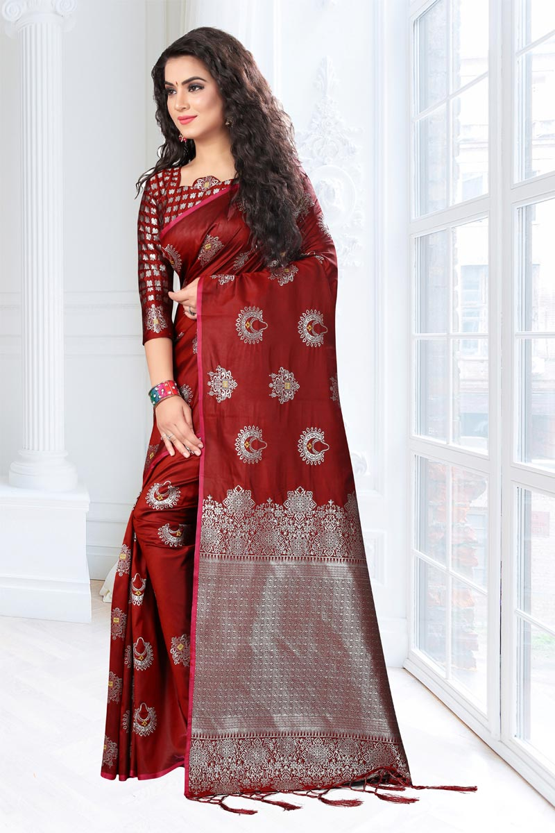 Maroon Color Weaving Work On Party Wear Saree In Art Silk Fabric With Designer Blouse