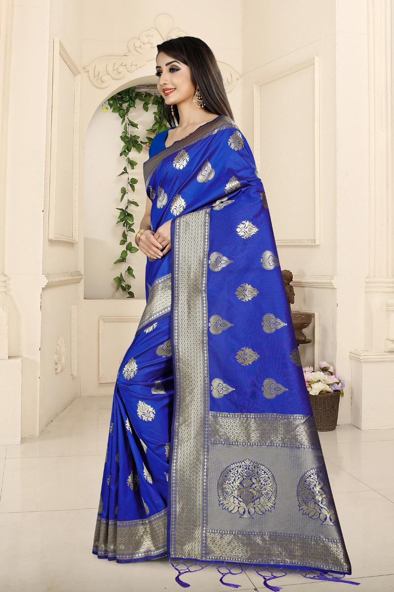 Weaving Work On Banarasi Silk Fabric Blue Color Function Wear Saree With Party Wear Blouse