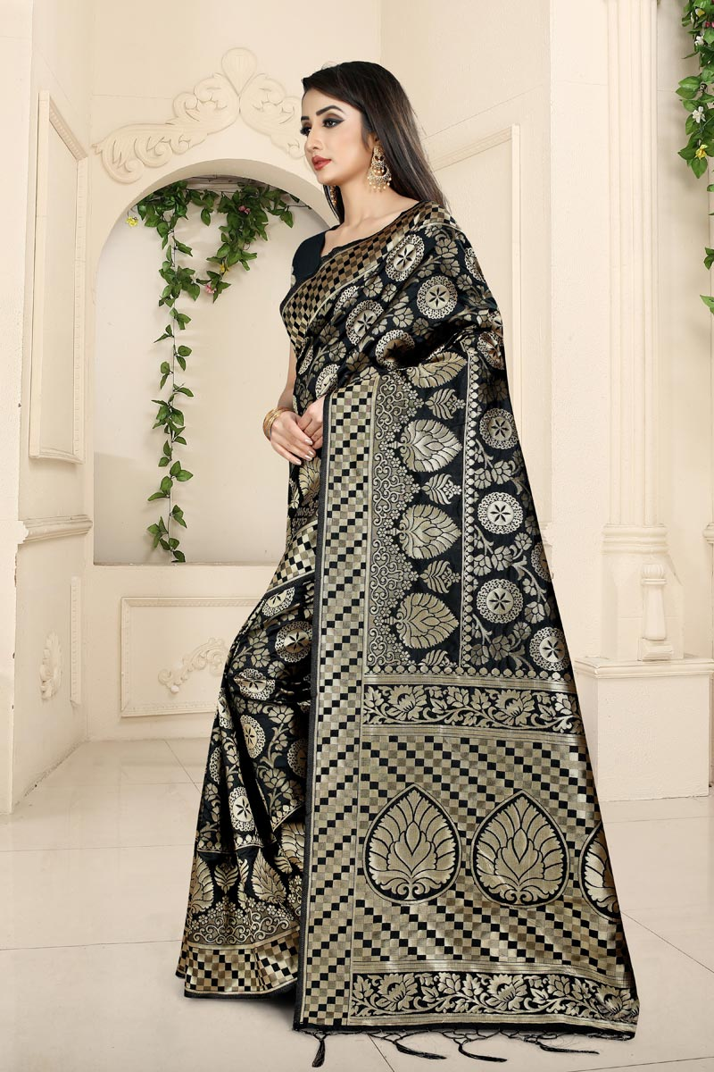 Black Color Banarasi Silk Fabric Party Wear Saree With Weaving Work And Enigmatic Blouse
