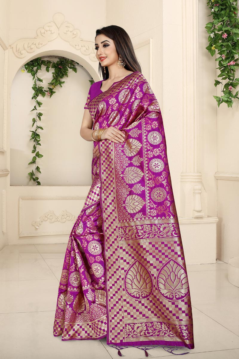 Magenta Color Party Wear Saree In Banarasi Silk Fabric With Weaving Work And Beautiful Blouse