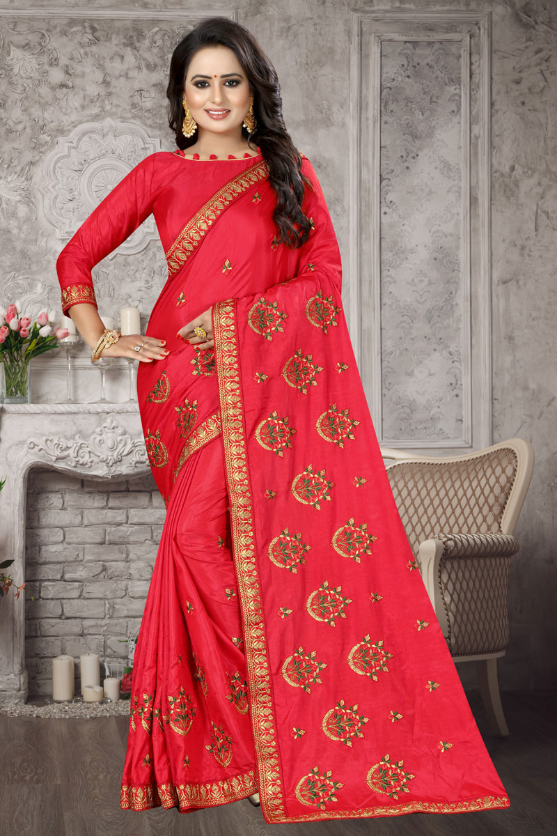 Art Silk Fabric Designer Saree In Red With Embroidery Work And Blouse