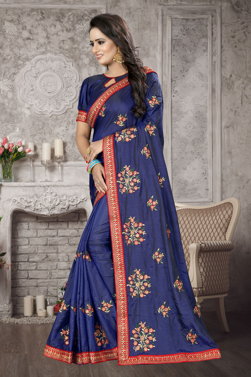Blue Art Silk Fabric Designer Saree With Embroidery Work And Blouse