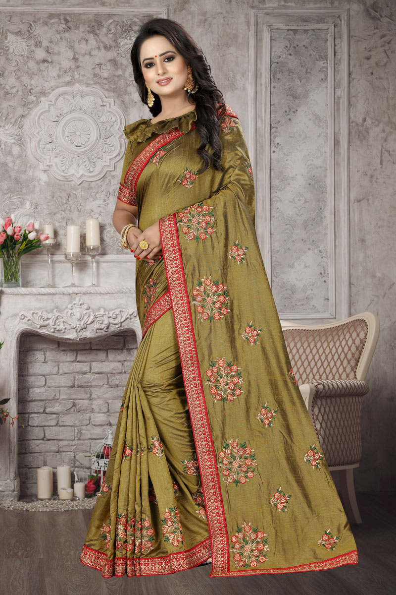 Occasion Wear Art Silk Fabric Saree In Khaki With Embroidery Work And Blouse