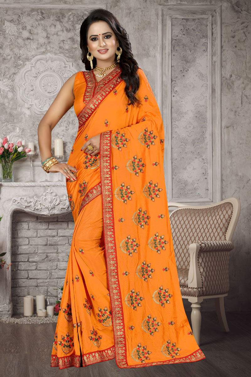 Art Silk Fabric Orange Designer Saree With Embroidery Work And Blouse