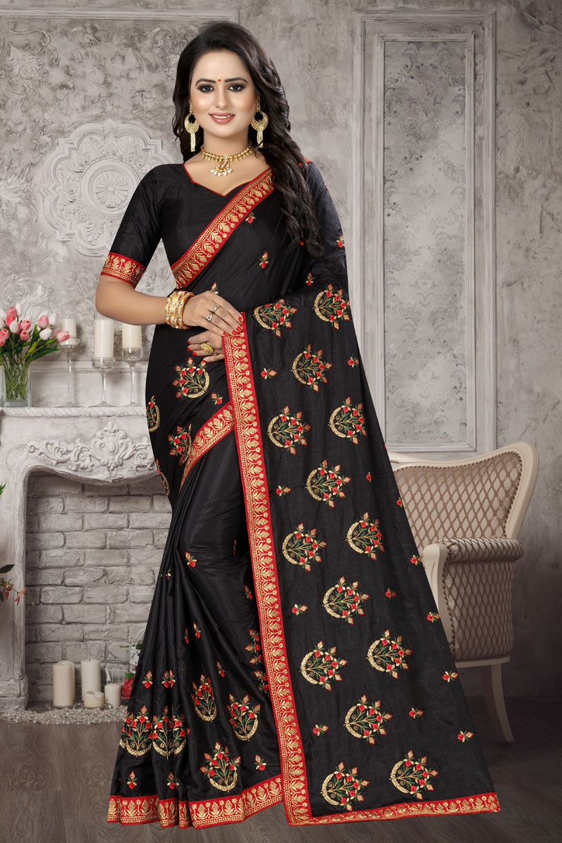 Black Art Silk Fabric Party Wear Saree With Embroidery Work And Blouse