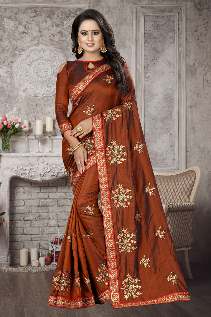 Brown Art Silk Fabric Occasion Wear Saree With Embroidery Work And Mesmeric Blouse