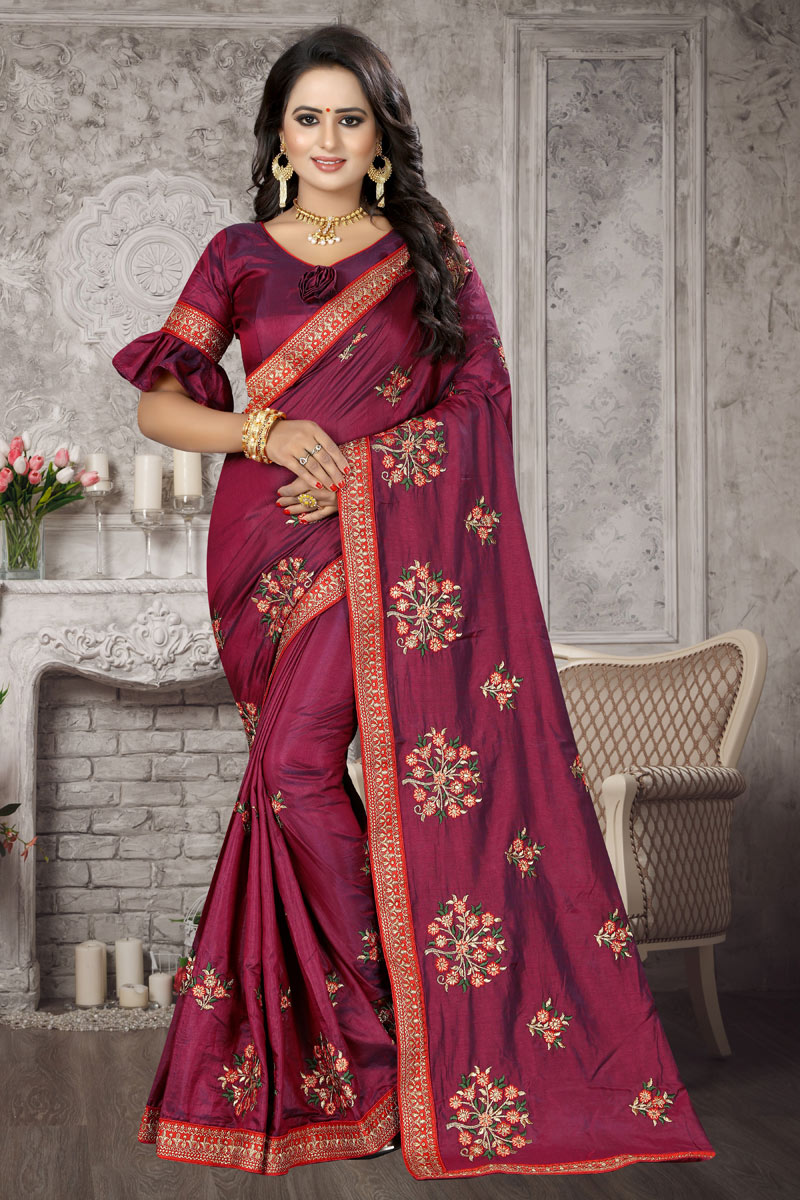 Art Silk Fabric Embroidery Work On Magenta Reception Wear Saree With Charming Blouse
