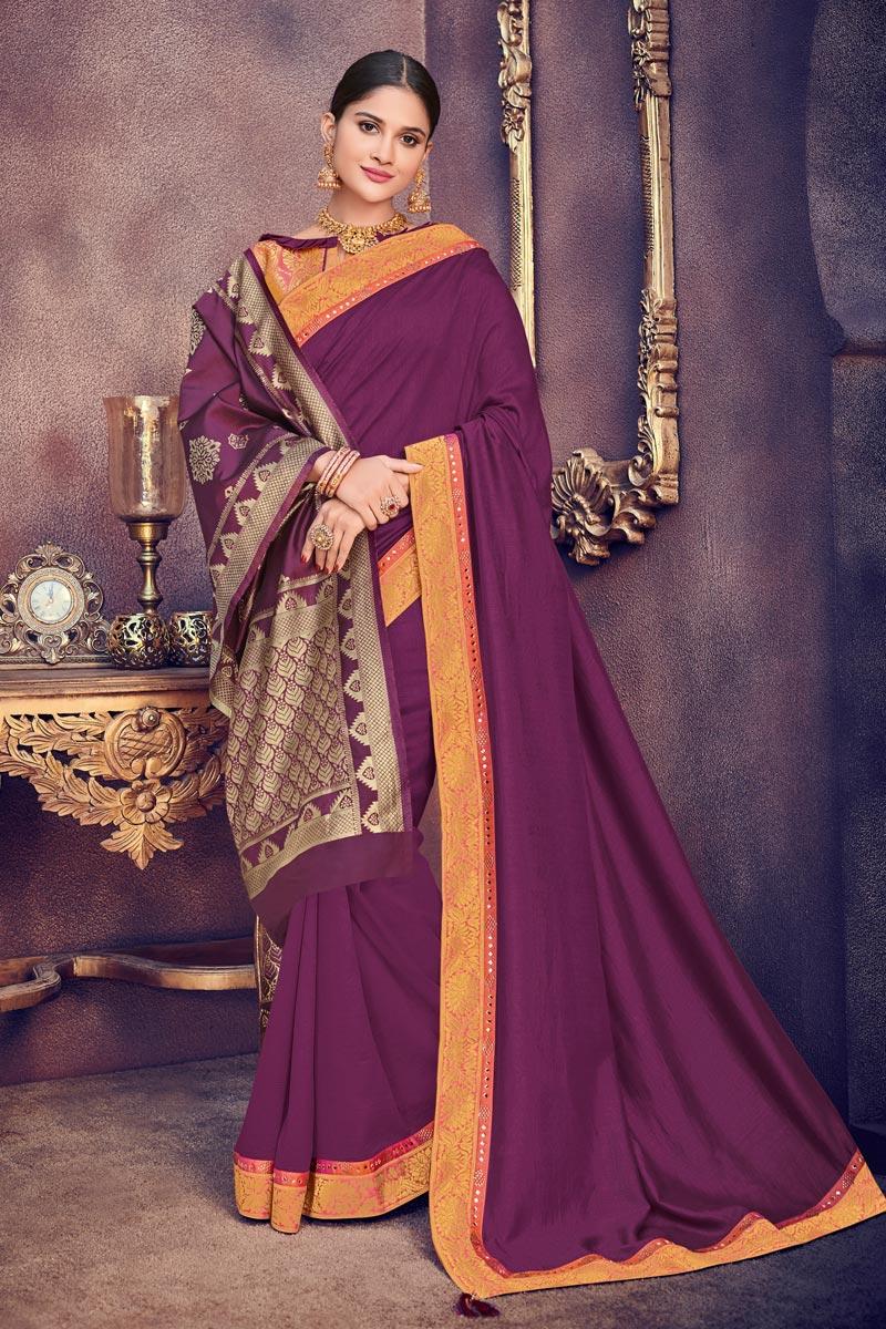 Border Work Art Silk Fabric Wedding Wear Purple Color Saree With Jacquard Silk Dupatta