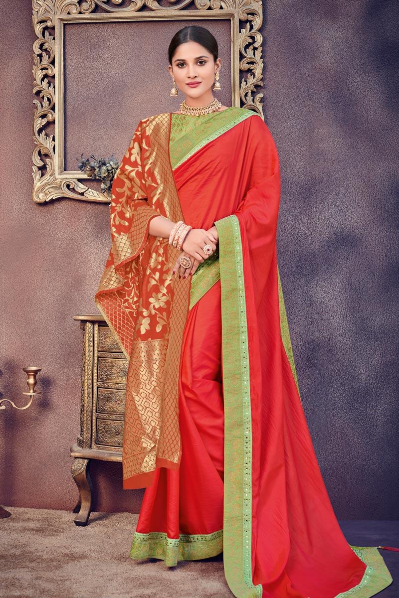 Art Silk Fabric Designer Border Work Saree On Red Color With Jacquard Silk Dupatta