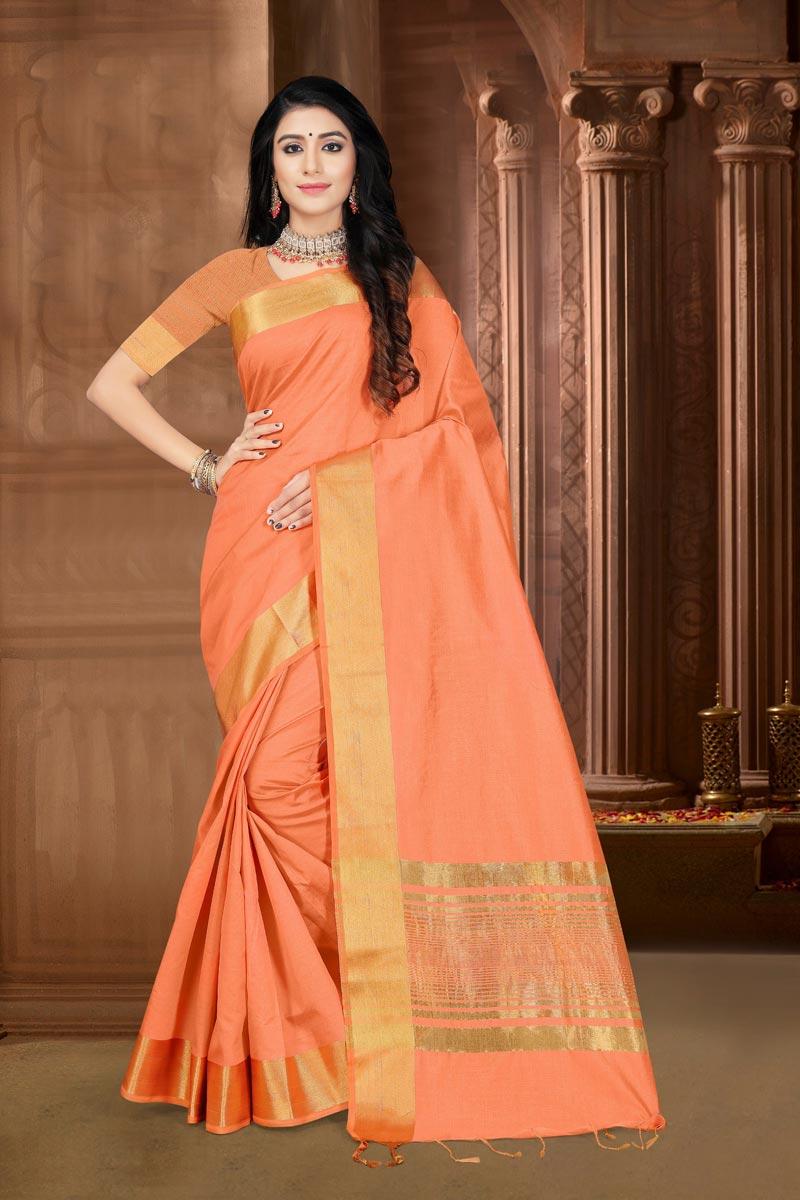 Art Silk Fabric Festive Wear Elegant Peach Color Weaving Work Saree