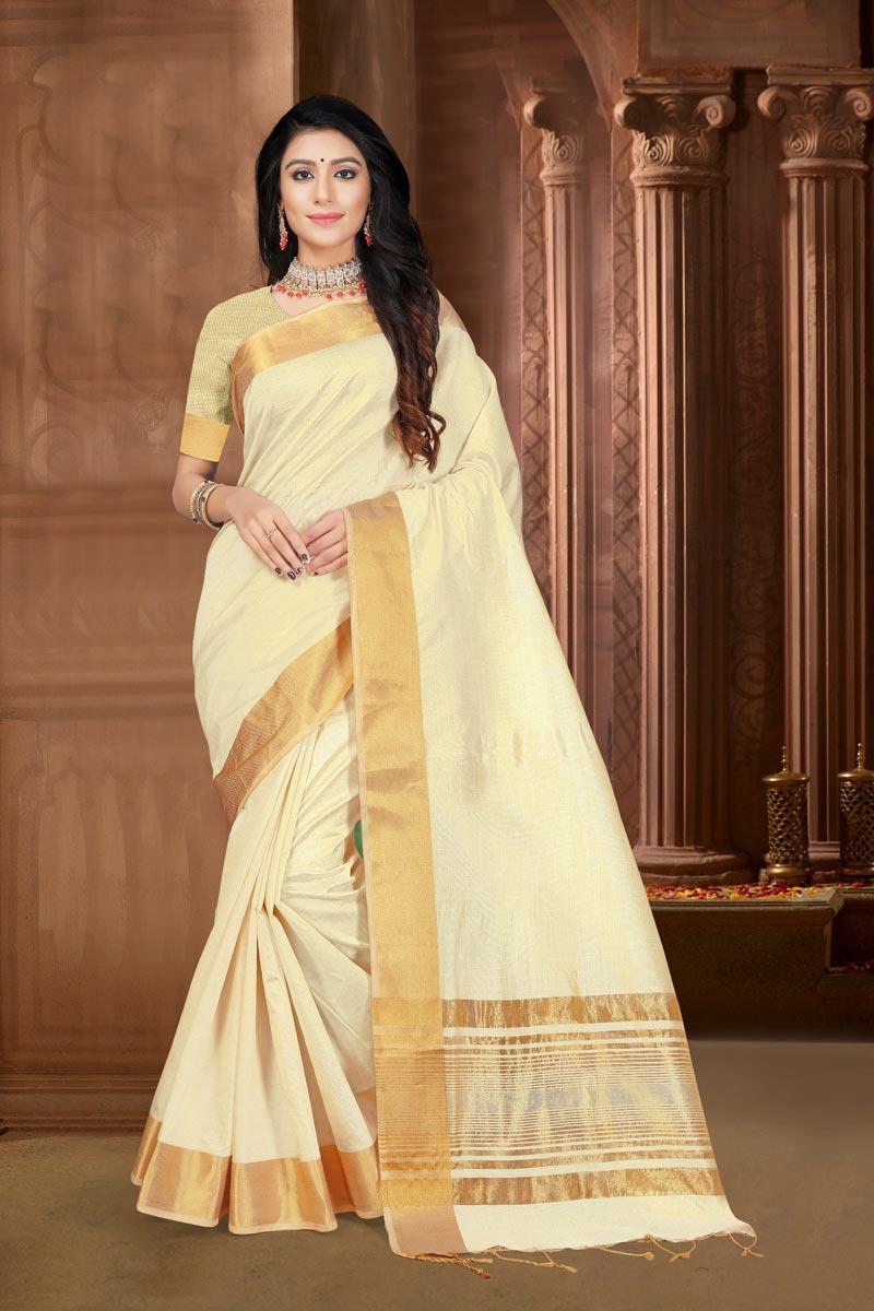 Festive Wear Art Silk Fabric Elegant Weaving Work Saree In Beige Color