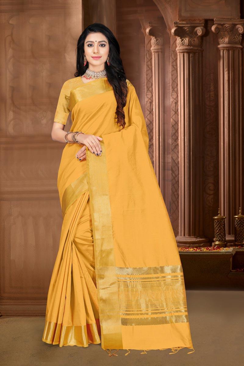 Yellow Color Festive Wear Elegant Art Silk Fabric Weaving Work Saree