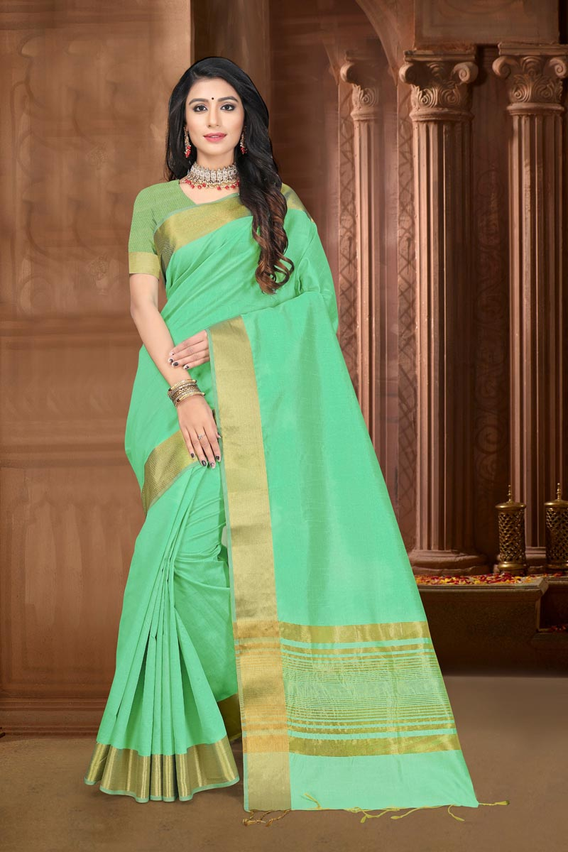 Art Silk Fabric Elegant Festive Wear Sea Green Color Weaving Work Saree