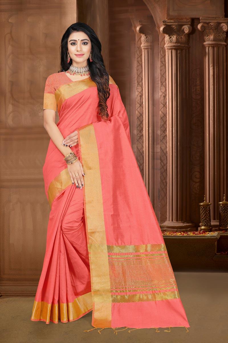 Pink Color Festive Wear Art Silk Fabric Elegant Weaving Work Saree
