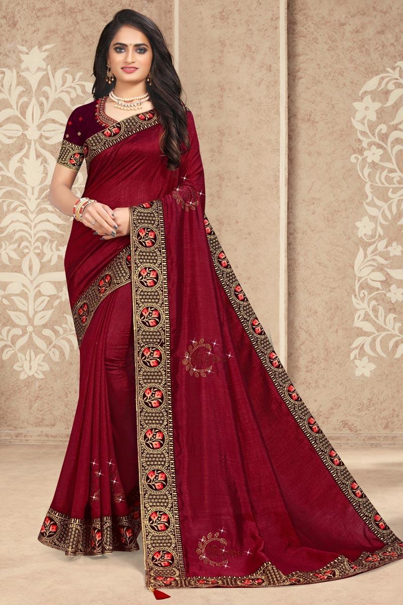 Maroon Color Art Silk Fabric Lace Work Puja Wear Fancy Saree