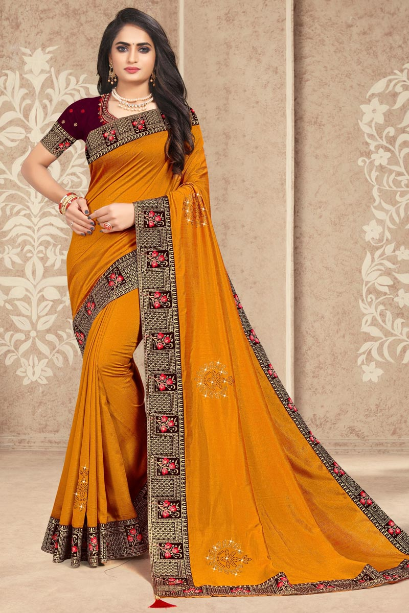 Art Silk Fabric Mustard Color Lace Work Function Wear Trendy Saree