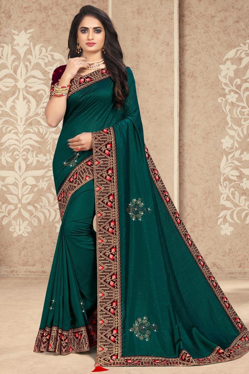 Lace Work Teal Color Art Silk Fabric Festive Wear Stylish Saree