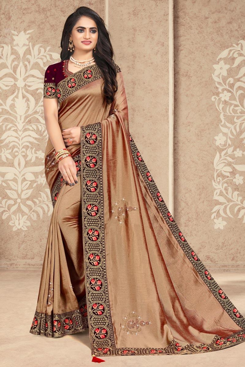 Fancy Cream Color Art Silk Fabric Lace Work Festive Wear Saree