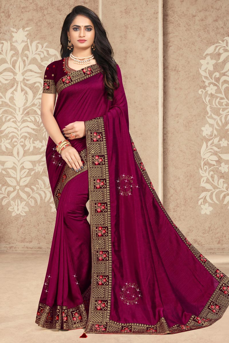 Art Silk Fabric Lace Work Puja Wear Trendy Saree In Burgundy Color